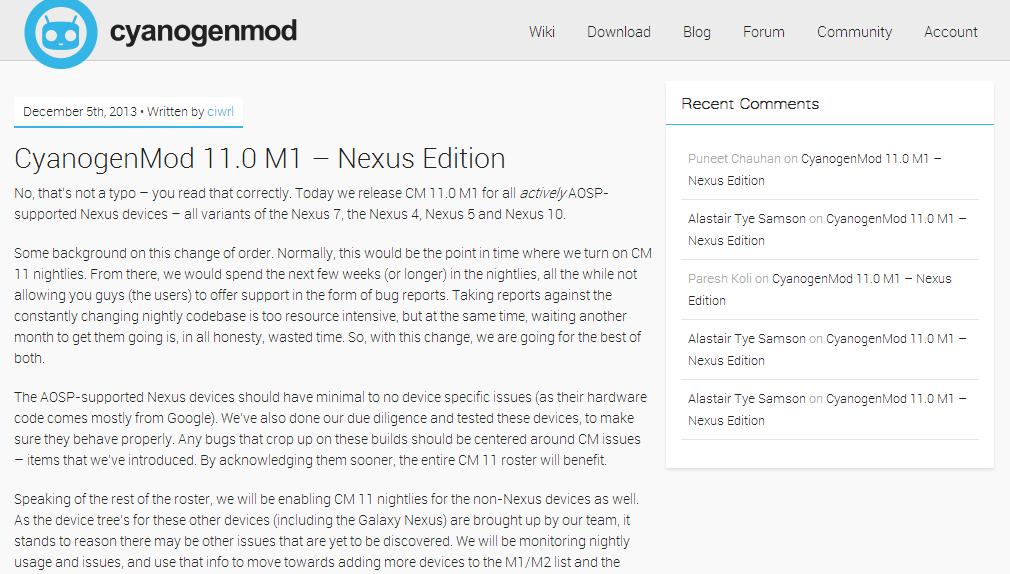 CyanogenMod 11.0 M1